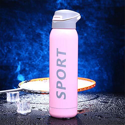 Bouteille isotherme en acier inoxydable pour enfants en plein air avec thermos de paille, rose 360 ml