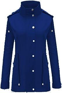 HermosaUKnight Impermeables Ligeros con Capucha para Mujer con Chaqueta Impermeable Impermeable con cordón (Royal BlueXL)
