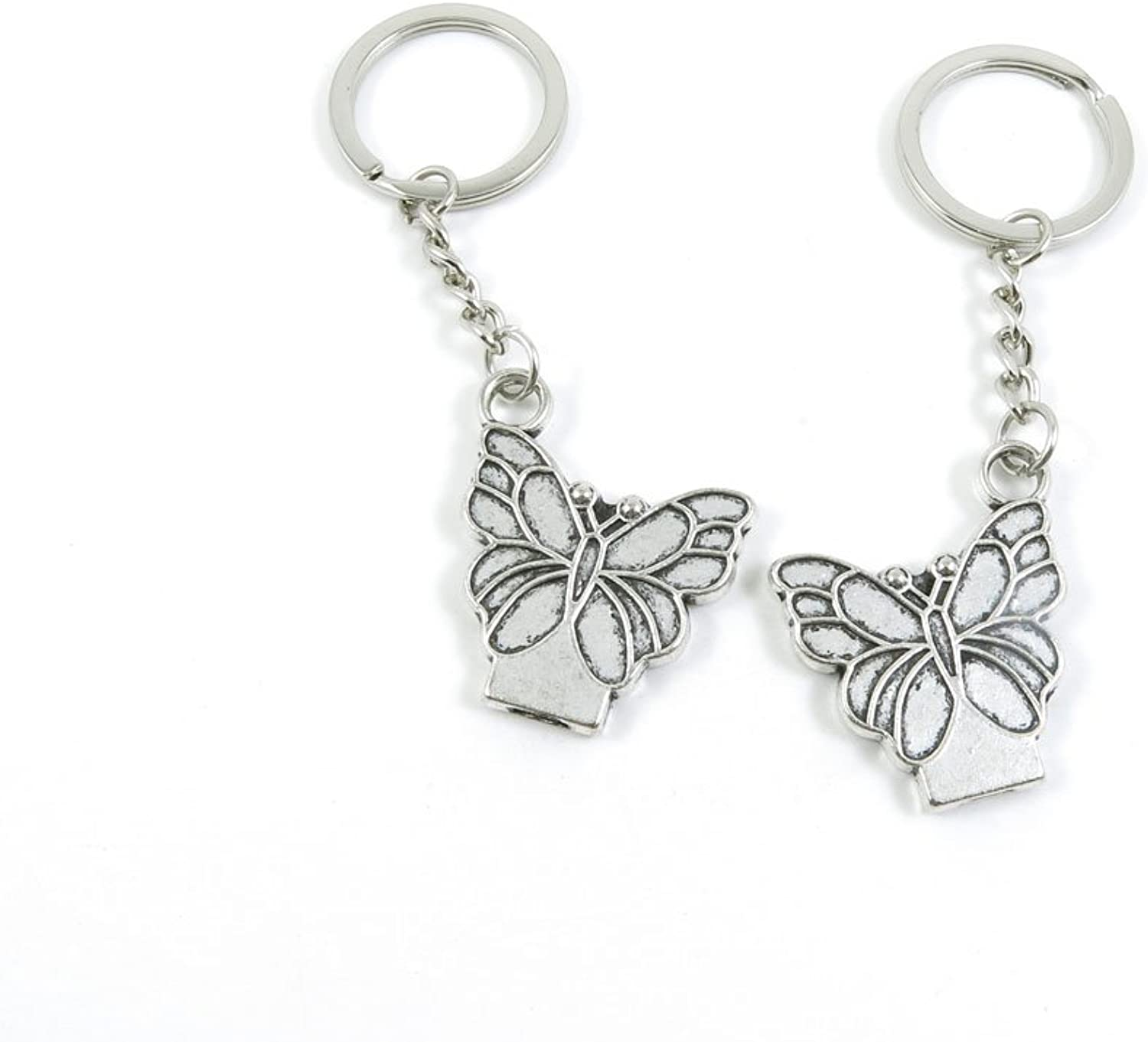 50 Pieces Keychain Keyring Door Car Key Chain Ring Tag Charms Bulk Supply Jewelry Making Clasp Findings F3ZN8H Butterfly
