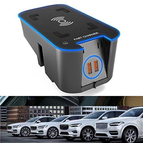 Caricabatteria Da Auto Wireless Per Volvo XC90 XC60 S90 V90 V60 S60 2020 2019 QC3.0 Ricarica Rapida, Con Porta USB 36W QI Tappetino Di Ricarica Wireless Per Smart Phone, Per Qualsiasi Telefono Qi