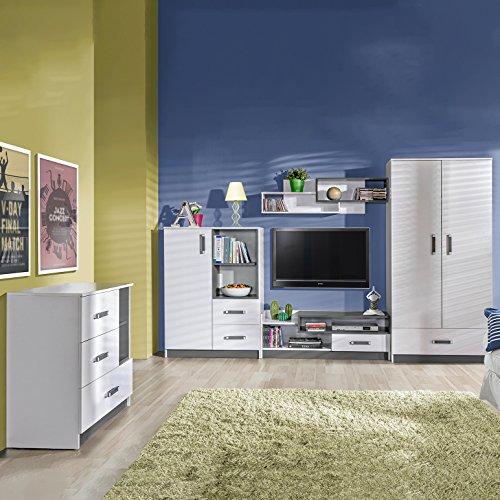 SMARTBett GmbH Jugendzimmermöbel Komplett Set Trapiko 02 (5 TLG.) Weiss/Grau