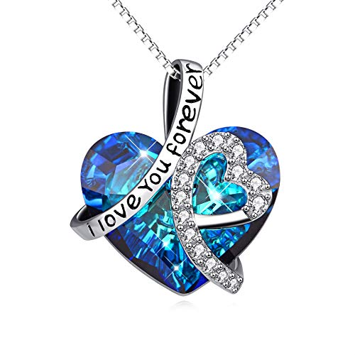 Sterling Silver 'I Love You Forever' Heart Pendant Necklace with Birthstone Crystals, Birthday Anniversary Jewellery Gifts for Women Mum Girlfriend Daughter Her (Blue)
