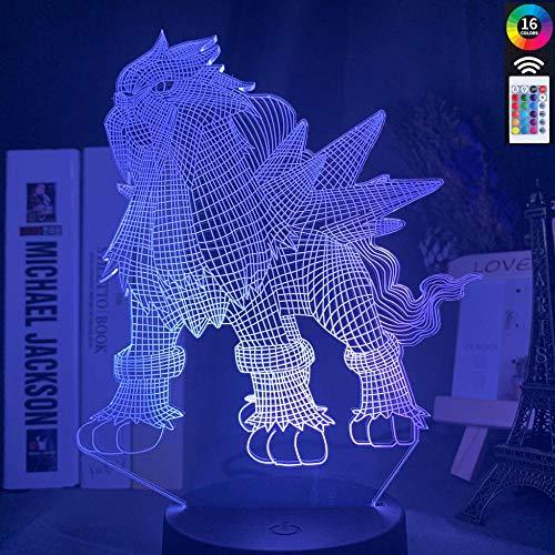 Lámpara De Ilusión 3D Juego De Luz Nocturna Led Pokemon Go Entei Figura Para Decoración De Dormitorio Infantil Colorido Niño Entei