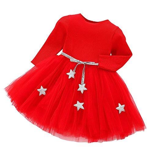 Kobay Kleinkind Kinder Baby Mädchen Langarm Sterne Kleidung Party Prinzessin Kleider(0-6M,Rot)