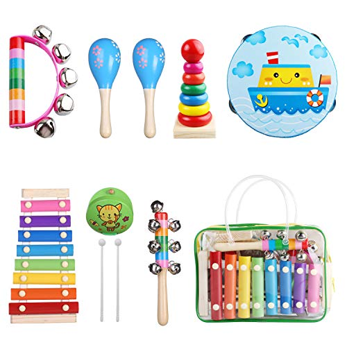 Kids Musical Instruments - Childom Musical Instruments Wood Xylophone for Kids Children, Child Wooden Music Shakers Percussion Instruments Tambourine Present with Carrying Bag