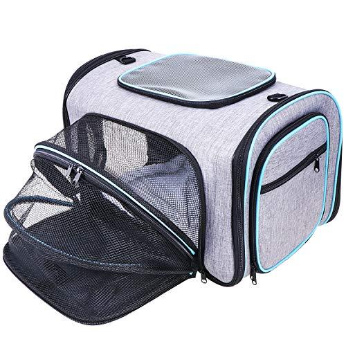 Coolty Transporttasche Katze und Kleine Hunde, Erweiterbar Transportbox Faltbare Tragetasche für Hunde, Katzen oder Kleintiere mit Decke und Schultergurt
