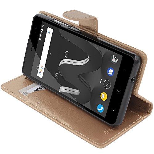 ebestStar - kompatibel mit Wiko Jerry 2 Hülle Kunstleder Wallet Case Handyhülle [PU Leder], Kartenfächern, Standfunktion, Gold [Phone: 144 x 72.8 x 9.3mm, 5.0'']