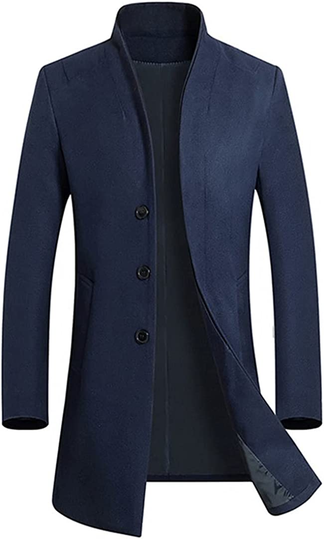 Men's Casual Long Wool Blends Trench Coat / Male Solid Color Thick Business Windbreaker Jacket gray L