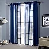 YUNSW Color Azul Tulle Ojal Cortinas Salón Balcón Dormitorio Ventana Decoración Cortina Conjunto De 2
