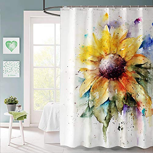 WISH TREE Rustic Sunflower Fabric Shower Curtain with Hooks...