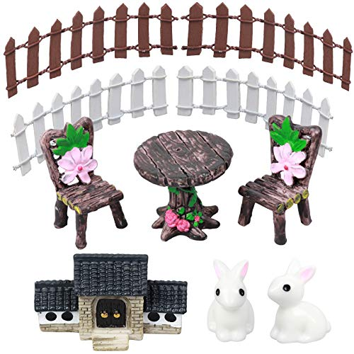 Warmshine 6 Pieces Miniature Table and Chairs Set, Moss Fairy Miniature Fairy Garden Stone House Statue Home Decoration Outdoor Decor