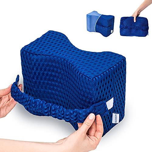 BUONSON Cuscino per Ginocchia Dormire 2021 con 2 Federe Traspiranti e Fascia Removibile - Dispositivo Medico Ortopedico in Memory Foam Per Alleviare Mal di Schiena Sciatica (Blu)