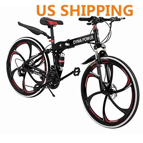 Folding Mountain Bike,Alonea 26in 21-Speed Disc Brake 7 Shifter Bicycle Full Suspension MTB Bicycle for Adult Teens (Ship from US,2-5 Days) (A)