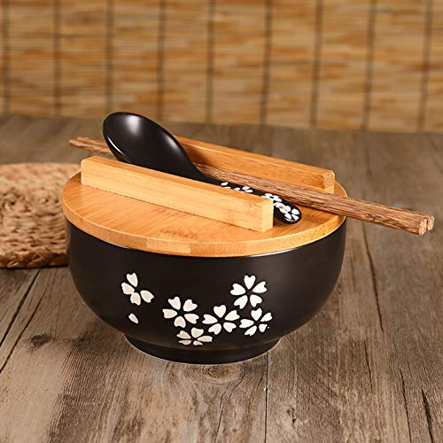 LGYKUMEG Japanese vintage ramen bowl with lid spoon, black ramen cup made of ceramic hand drawn rice bowl instant noodle bowl,Black