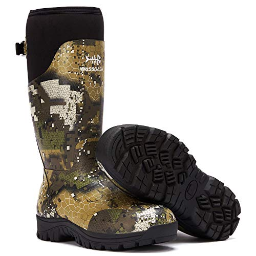 """Bassdash Explorer Desolve Veil Camo Men's Waterproof Hunting Boots 16"""" Rubber Boots with 5mm Neoprene Lining Insulated 400 Grams Fishing Outdoor Tactical Boots"""