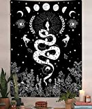 Trippy Witchy Vertical Tapestry, Black and White Floral Moon Snake Tarot Tapestry Wall Hanging for Bedroom, Dark Aesthetic Nature Flower Small Tapestries Poster Blanket College Dorm Decor (40'X60')