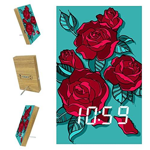 Bennigiry Hermoso ramo de rosas rojas LED Digital Relojes USB de carga Despertadores para oficina, cocina, dormitorio, decoración del hogar