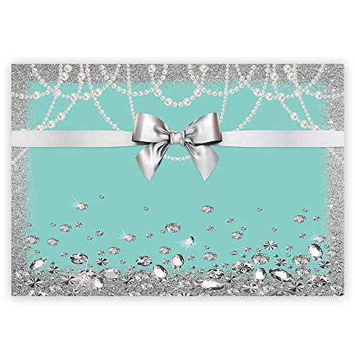 Funnytree 7x5ft Bowknot Blue Backdrop Turquoise Bow Diamonds Sweet 16 Princess Girl Birthday Photography Background Bridal Shower Wedding Party Cake Table Decoration Photo Booth Banner