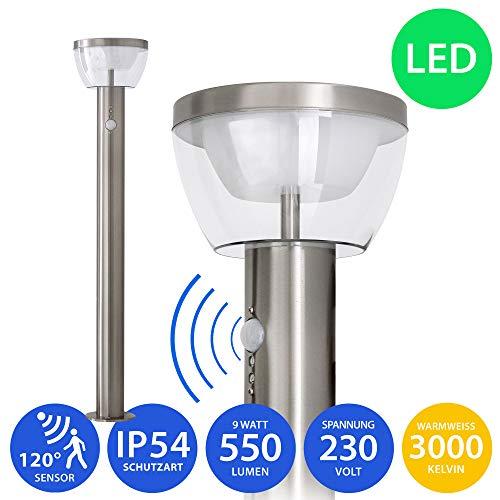LED Aussenleuchte mit Bewegungsmelder Standleuchte Gartenleuchte Wegeleuchte Lampe 9W Edelstahl 80cm modern IP54 309A1-800