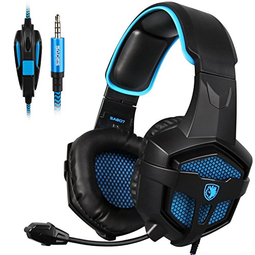SADES New SA807S Over-Ear Stereo Gaming Headset Headband Headphones with Microphone/Control-Remote/Noise-Reduction for PC Computers/Mac/Laptop/PS4/New Xbox One/Cellphons/Tablets (Black Blue) Headsets