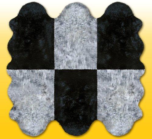 HEITMANN Fellteppiche grau-schwarz aus 6 Lammfellen, Größe ca. 185 x 180 cm, 30 Grad waschbar