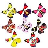 Tarjeta de mariposa voladora mágica para niños de 10 piezas, hermosos planeadores voladores de mariposa, banda de goma plástica de 5x4,4x1,4 pulgadas, mariposa sorpresa para niños, tarjetas,de Navidad