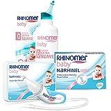 Rhinomer Baby Pack, Spray Nasal 100% Agua de Mar de Origen Natural, Fuerza Extra Suave para Bebés, Aspirador Nasal y Recambios Blandos Desechables con Filtro Absorbente, 20 unidades