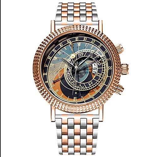 Mode wasserdichte Herren-Armbanduhr Analog Quarz Edelstahl Mit Gold 293.Astronomische Uhr In Prag Wrist Watch