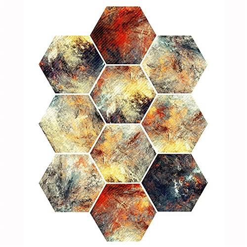 Azulejos adhesivos de cocina, 10 pegatinas, coloridos azulejos hexagonales abstractos tridimensionales, adhesivos antideslizantes para pisos de cocina y baño, adhesivos de pared para bricolaje