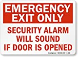 SmartSign 'Emergency Exit Only - Security Alarm Will Sound If Door Is Opened' Label | 10' x 14' Laminated Vinyl