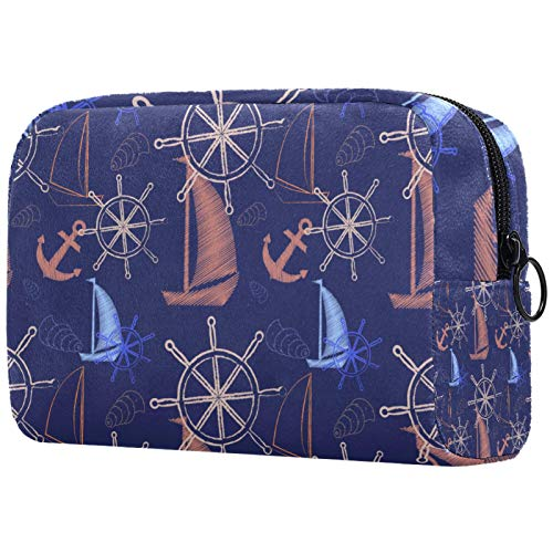 Cosmetic Bag Womens Waterproof Makeup Bag for Travel to Carry Cosmetics Change Keys etc Seamless Sea Pattern with Ships Ships Wheel