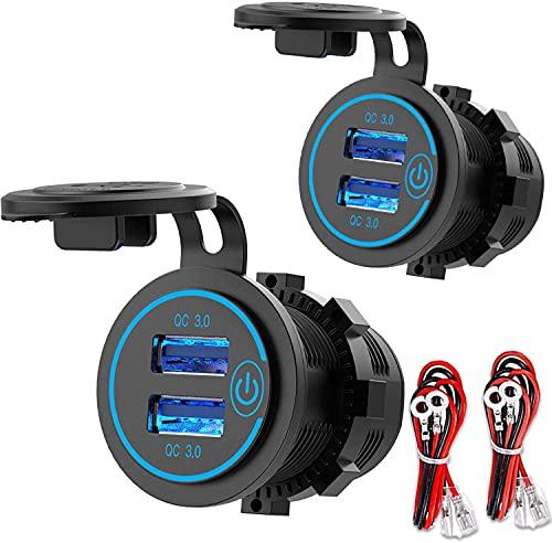 [2 Unidades] QC 3.0 Dual USB Enchufe 12 V/24 V Coche con Interruptor, Quick Charge 3.0 Cargador de Coche Empotrable, Resistente al Agua, Encendedor de Cigarrillos, Caja USB, LED Azul
