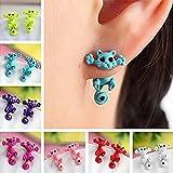 Tia-Ve 1 paio carino 3D Cat Design Ear Stud Chic Ear Stud per donne ragazza (rosa)