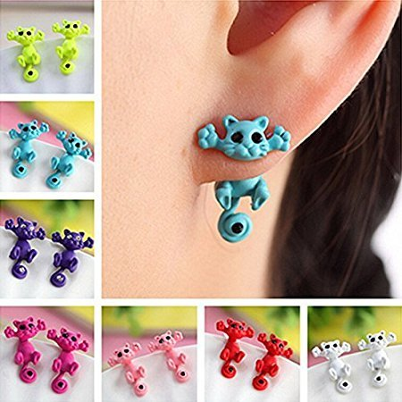 Tia-Ve 1 paio carino 3D Cat Design Ear Stud Chic Ear Stud per donne ragazza (rosa)
