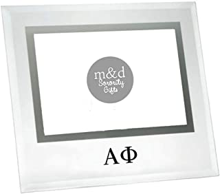 M&D Sorority Gifts Alpha Phi Picture Frame Glass Square for 4x6 Photo (Black)