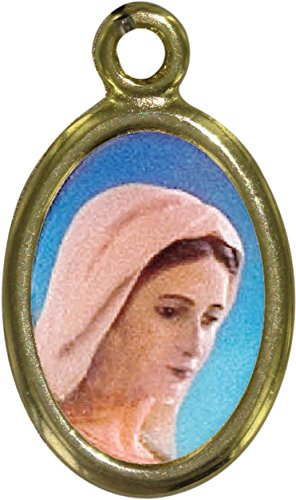 Ferrari & Arrighetti Medalla Virgen de Medjugorje de Metal Dorado y Resina - 1,5 cm