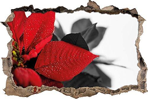 Calcomanía de Pared 3D flor roja de una nochebuena Impermeable Paisaje Agujero Etiqueta de La Pared Adhesivos de Pared para Interior Hogar Sala de Estar Decoración de Oficina 80x120cm