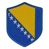 benobler FanShirts4u Aufnäher - BOSNIEN - Wappen - 7 x 5,6cm - Bestickt Flagge Patch Badge Fahne Bosna (Blaue Umrandung)