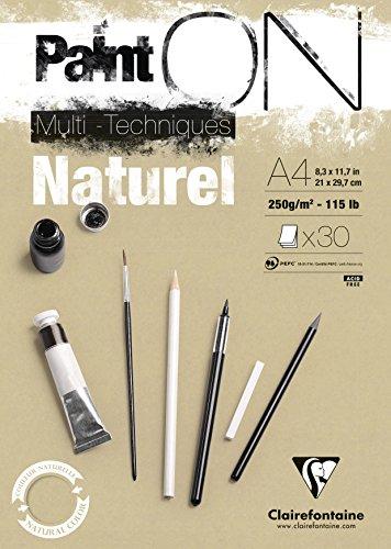 Clairefontaine 96540C Naturel PaintOn Block (250 g, DIN A4, 21 x 29,7 cm, geleimt, 30 Blätter, geeignet für Bleistift, Kreide oder PastellIdeal mit rauen Oberfläche und Sandton) naturbraun