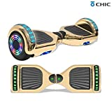 Longtime 6.5' Chrome Metallic Hoverboard Self Balancing Scooter with Speaker LED Lights Flashing Wheels (Metallic Gold)