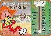 ヴィンテージメタルティンサインインチ、フロリダの夏の旅行、バークラブカフェファームの家の装飾アートポスターに適しています