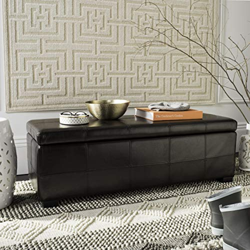 Safavieh Hudson Collection Williamsburg Brown Leather Large Storage Bench
