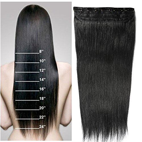 22' 100g Extension Clip 1pz 5 Clips Capelli Veri Remy Umani Huaman Hair Resistente al Calore Nero