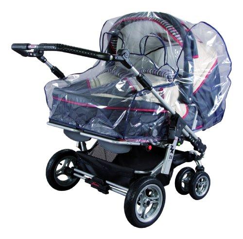 sunnybaby 10098 - Universal Regenverdeck, Regenschutz, Regenhaube für ZWILLINGS-Kinderwagen | zwei Kontaktfenster für optimale Luftzirkulation | Qualität: MADE in GERMANY