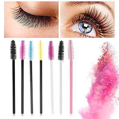 50 Pcs Jetables Cils Mascara Baguettes Eye Lash Sourcils Applicateur Maquillage Cosmétique Brush Kits D'outils, 7 Types(Noir Bleu)