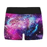 InterestPrint Men's Galaxy Purple Blue Stardust Space Boxer Briefs Underwear M
