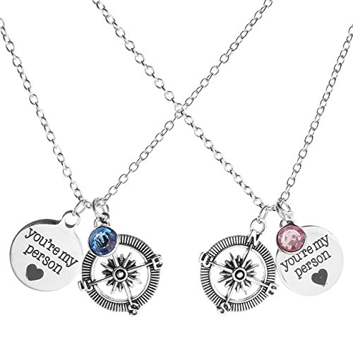 Jovivi 2 Pcs You are My Person Compass Round Crystal Charm Pendant Necklace Lover Couples Jewelry Set