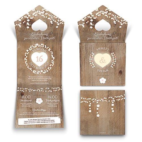 10 x Lasergeschnittene Hochzeit Einladungskarten Einladung - rustikale Lichtgirlande