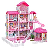 Dollhouse with Dollhouse Furniture and Dolls Dream Doll House for Little Girls 5 Year Olds 1:12 Scale for Kids Pretend Play Doll House Toy Playset Perfect Toddler Girls and Kids' Toy with Accessories