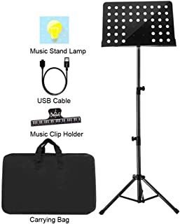 """Sheet Music Stand Lunies Highest 63"""" Portable Violin Guitar Music Book Holder with LED Light,Paper clip,Carrying Bag Black"""